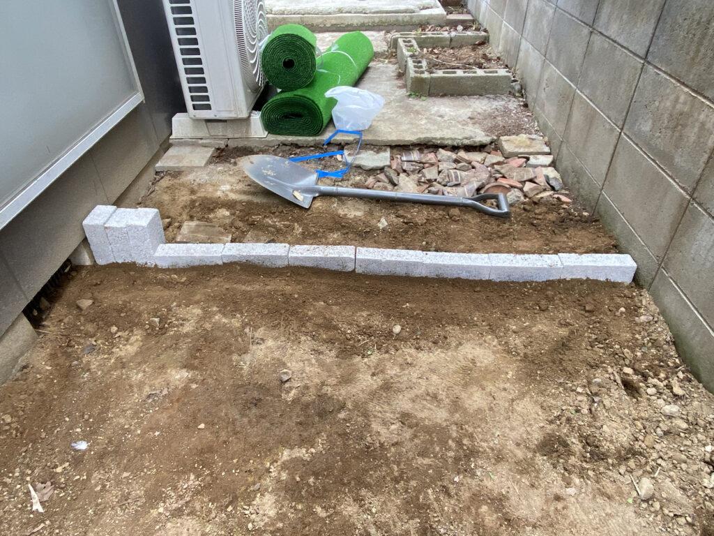 レンガブロックで庭造り